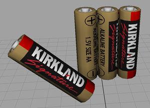 kirkland signature aa battery 3d obj