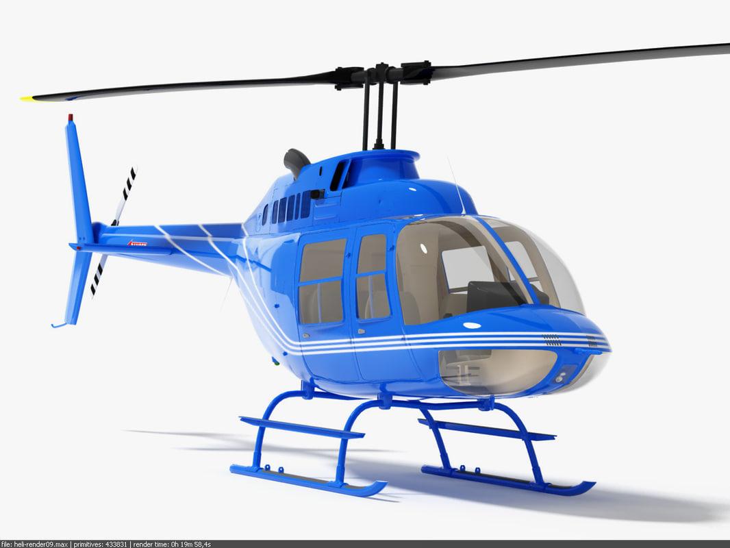 3d max bell 206 jetranger helicopter