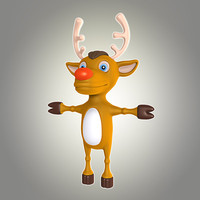 3d model cool cartoon christmas deer
