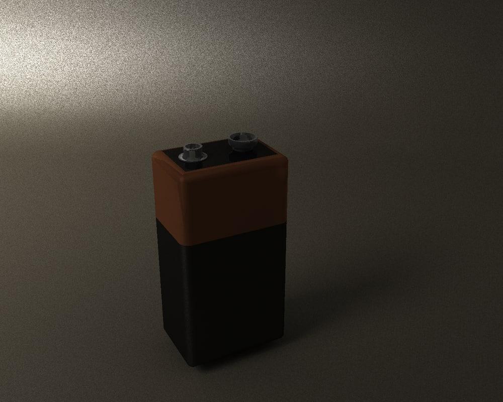 free 9 volt battery 3d model