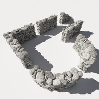 Stone - Rock Wall 11 RM19 - Chalk White 3D Rock Wall