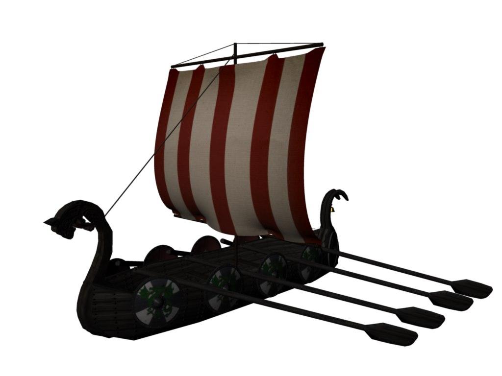 3d viking ship drakkar historical