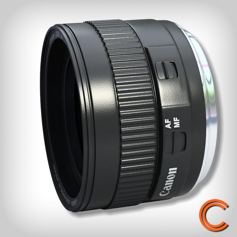 3d model lens canon 50mm fix