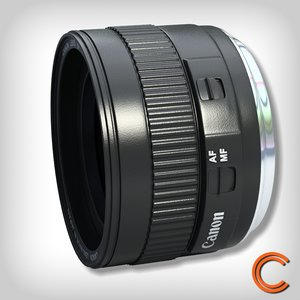 3d model lens canon 50mm fix