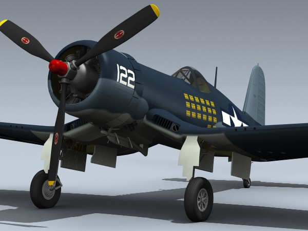 wwii f4u-1a corsair vmf-111 3d model