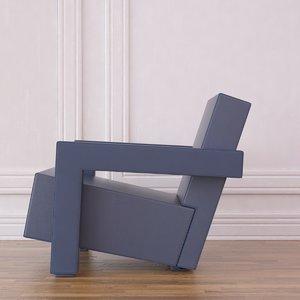 3d model 637 chair rietveld