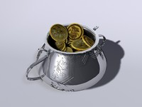 3d pot gold coins model