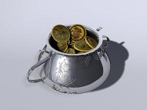 3d pot gold coins model