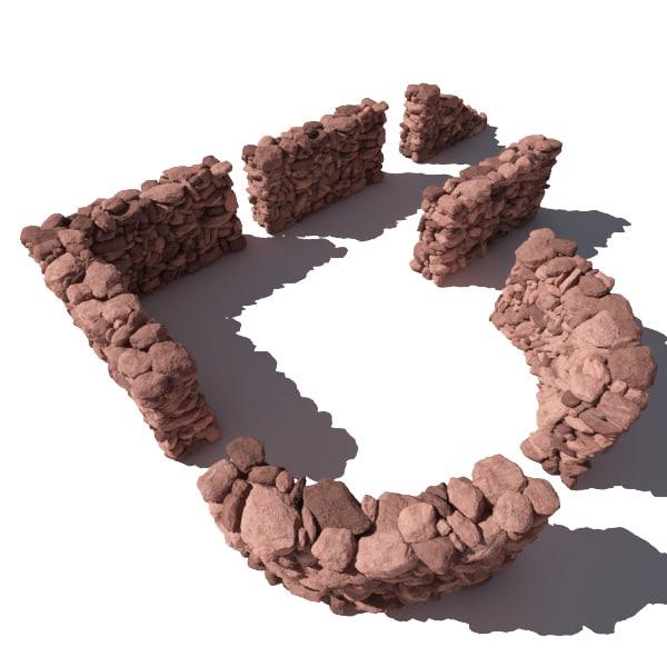 stone wall - rocks 3d 3ds