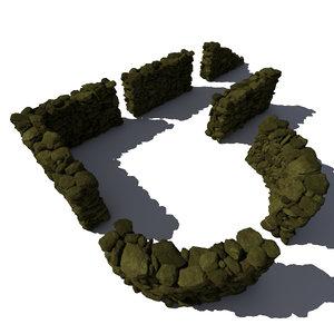 3d stone wall - rocks