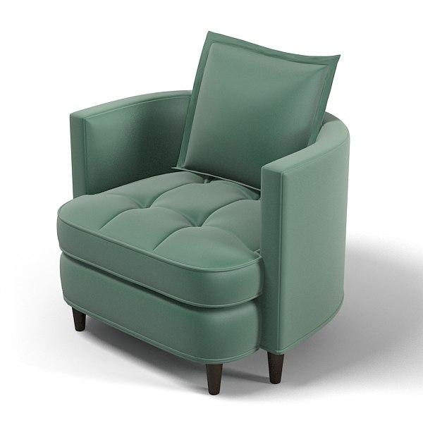 3d model tufted club chair