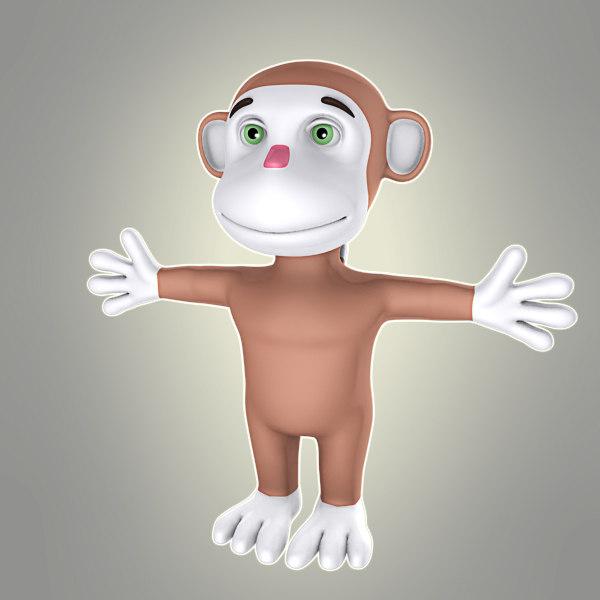 3d simple cartoon monkey