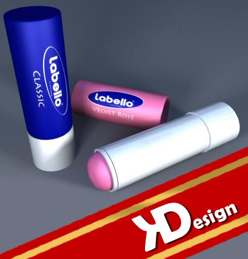 3d model of labello lipsticks