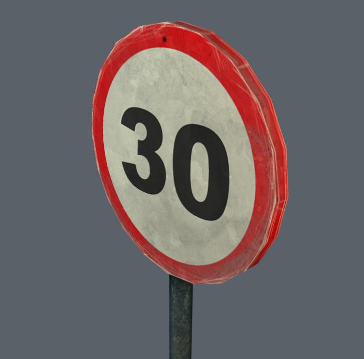 road sign 3d obj