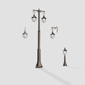 3d externally illumination street lamp model