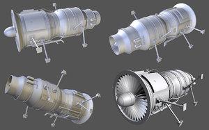 3d model jet engine