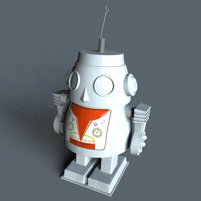 windup toy robot 3d model