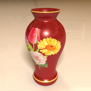 3d decorative red vase