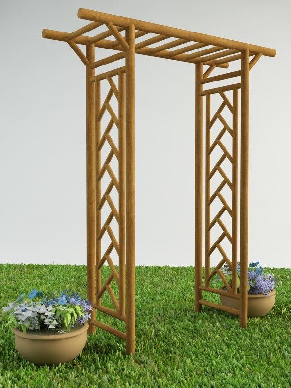 3d pergola flower model