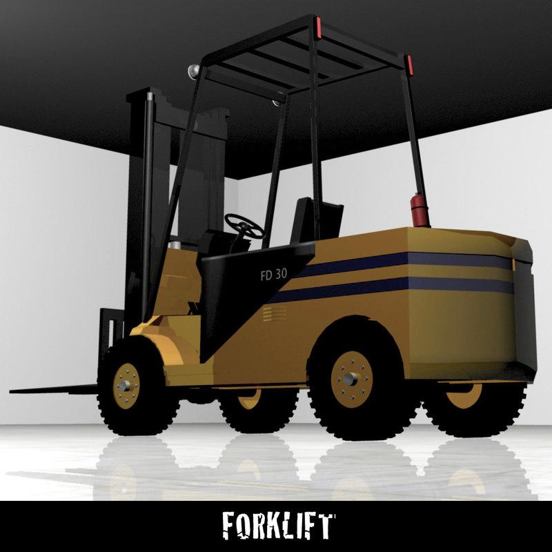 3d forklift warehouse equipment model