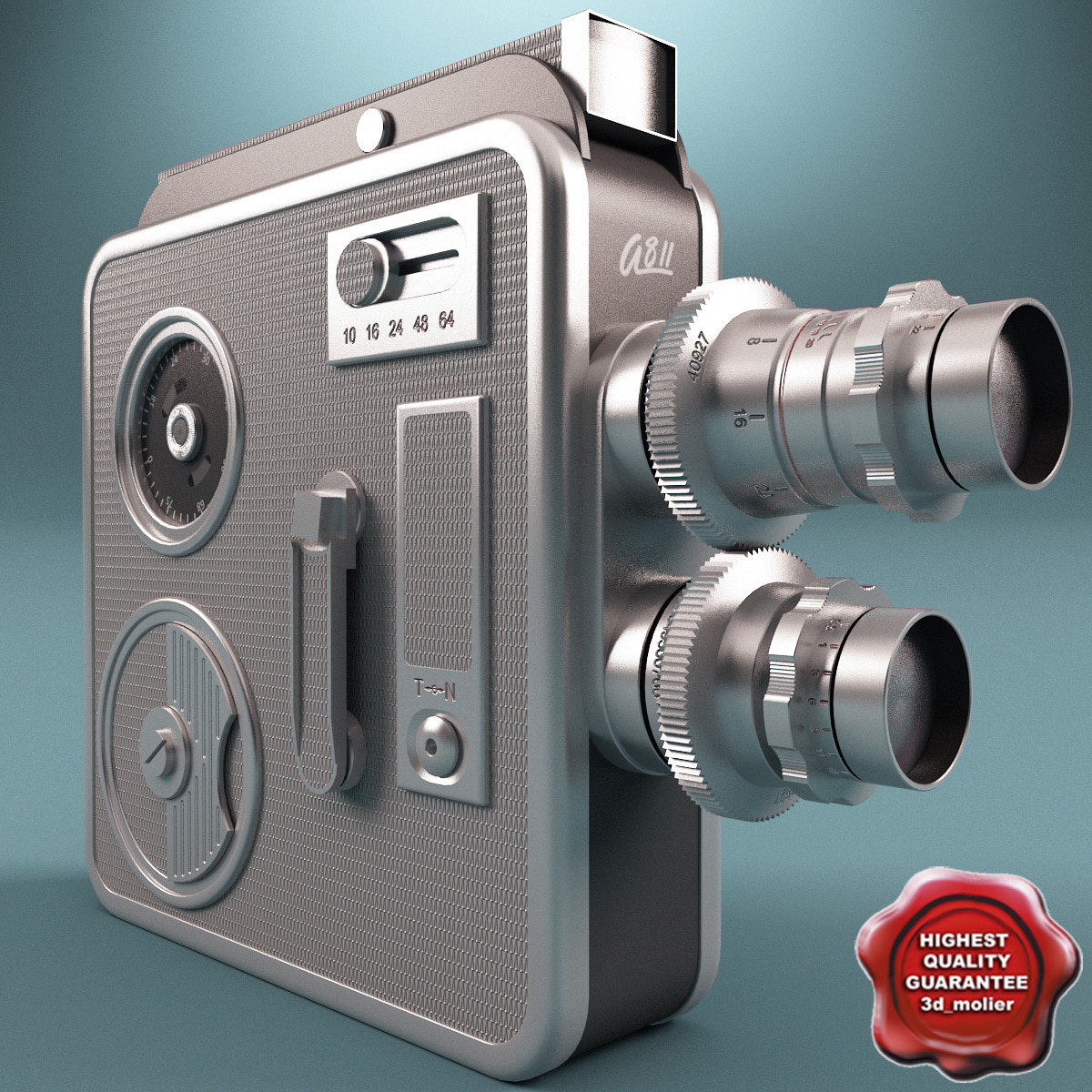 3d old movie camera silver