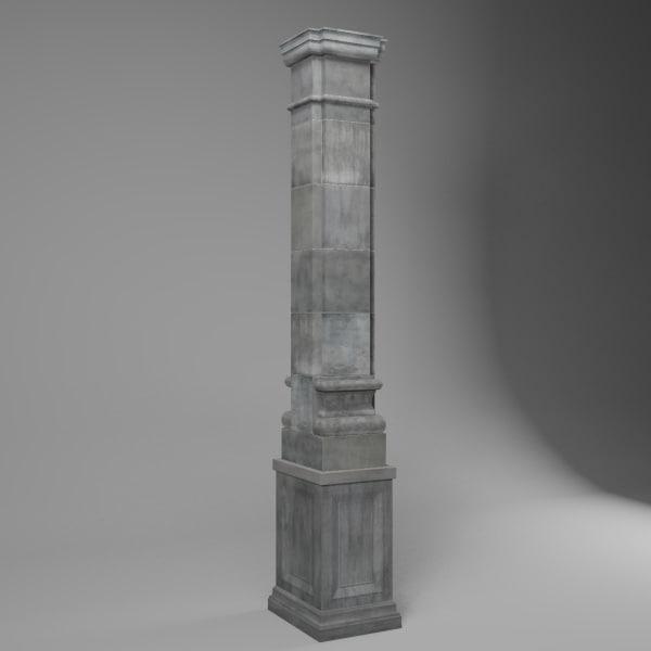 3d stone pillar