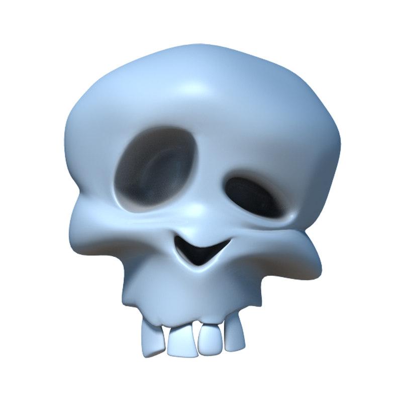 cartoon skull 3d obj