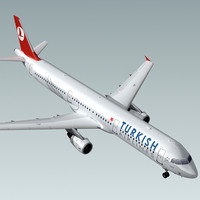 3d a321 plane turkish airlines