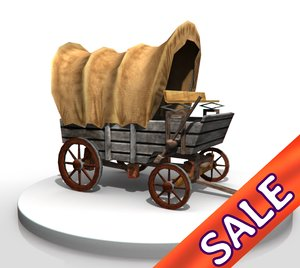 wild west covered wagon 3d obj