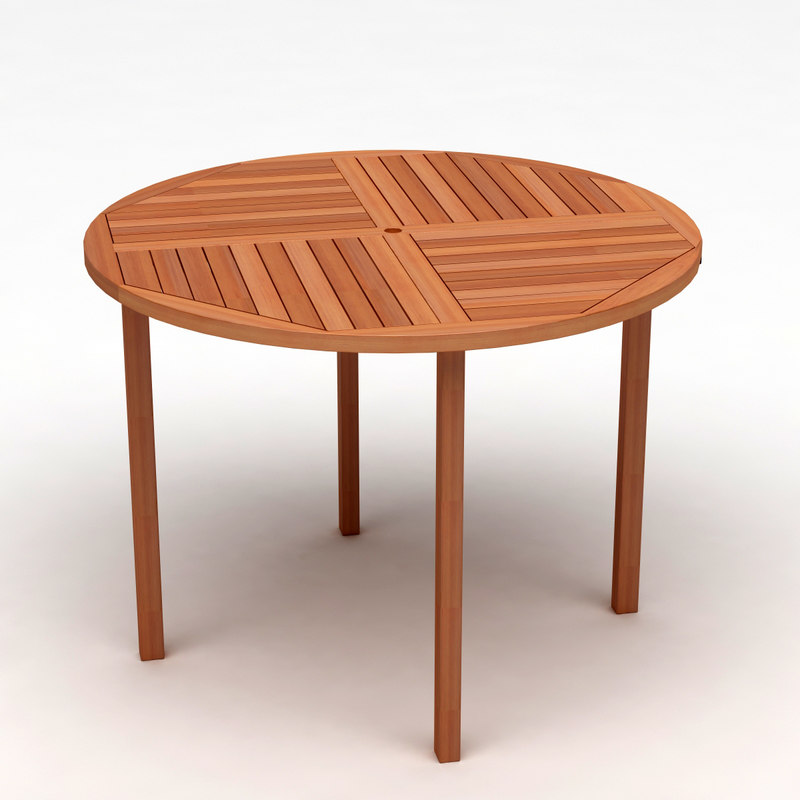 wooden patio table 3d max