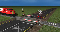train crossing 3d model