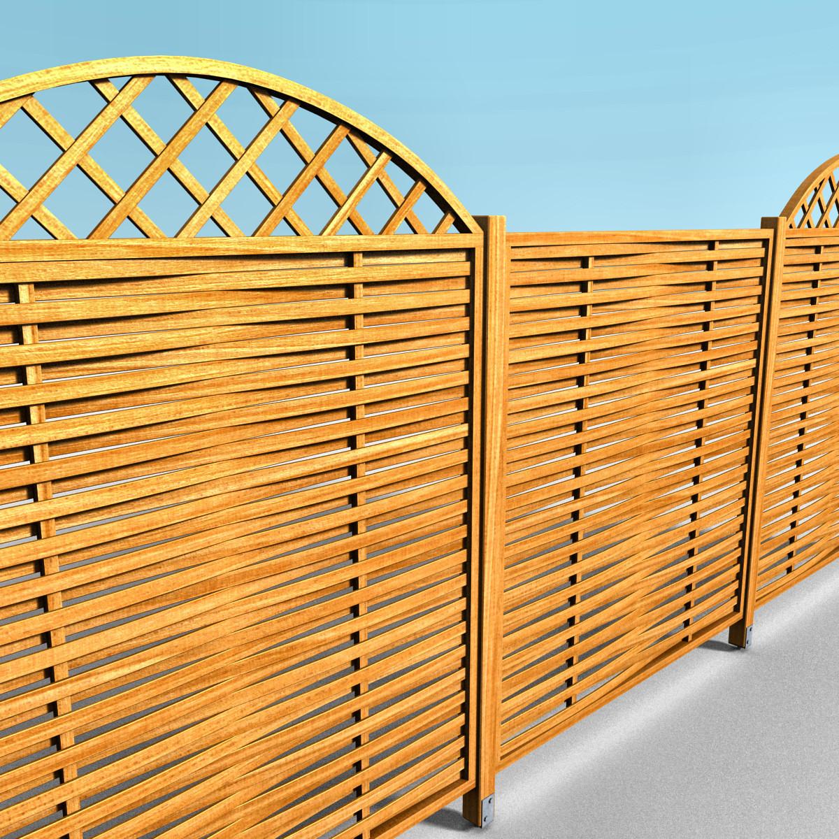 wooden fence 3d x
