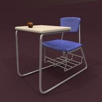 school desk 3d 3ds