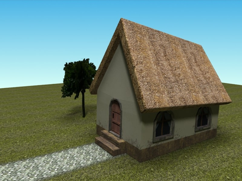 maya low-poly village house