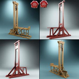 3d guillotines set modelled model