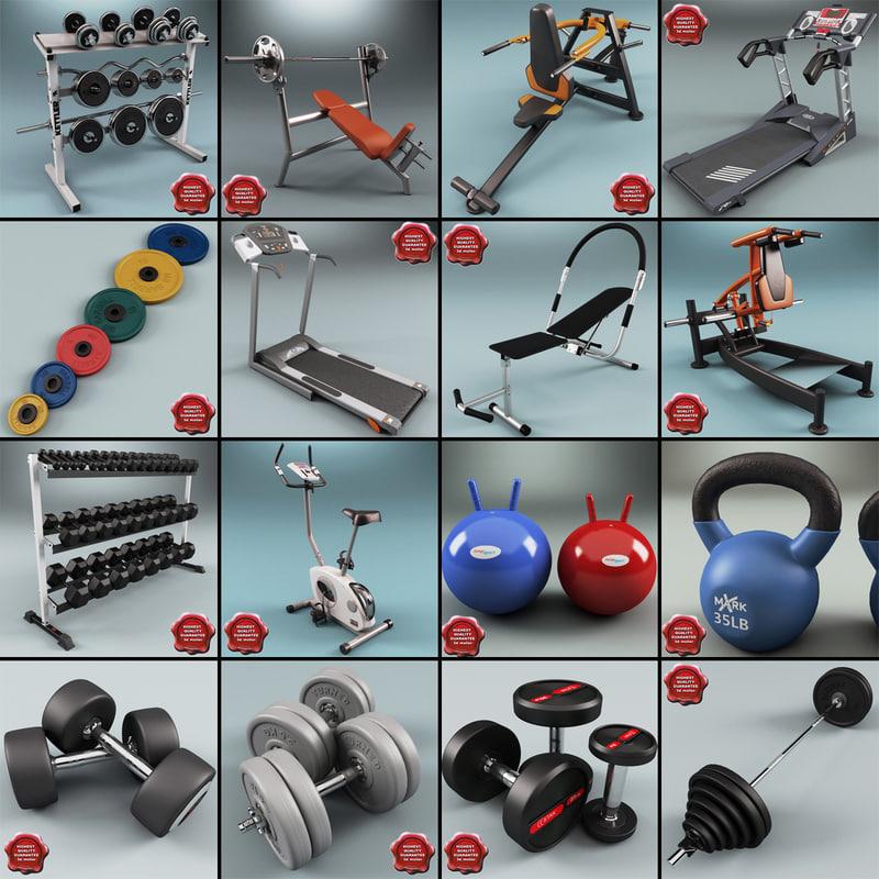 3d gym equipment v6 model