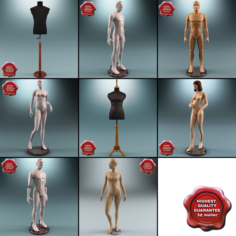 mannequins set modelled 3d max