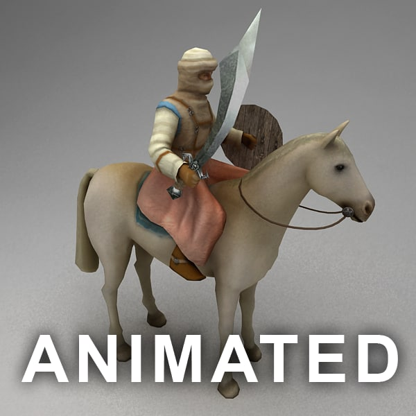 3ds rigged nomad rider horse