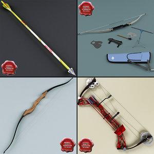 bows set arrow 3d c4d