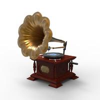 3d antique gramophone