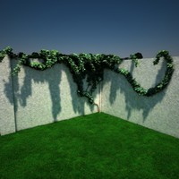 3d fence corner section ivy model