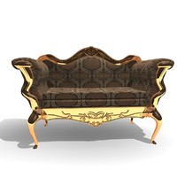 3d ornamented 2 seater chair model