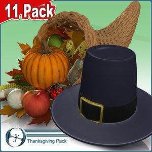 3d model thanksgiving cornucopia vegetables horn