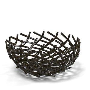 3d oxidized thatch bowl model
