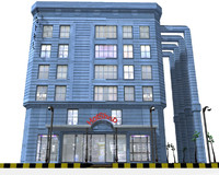 hotel shops building 3d obj