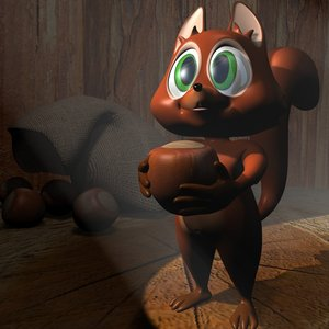 cute cartoon squirrel rigged 3d max