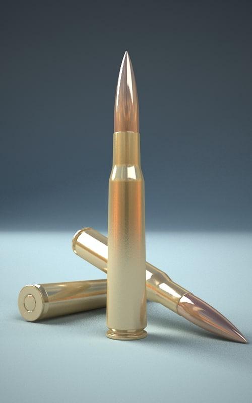3d model 50 caliber cartridge
