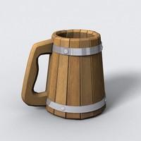 3d model old beer mug