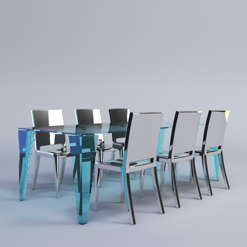 chrome dining chairs 3d obj