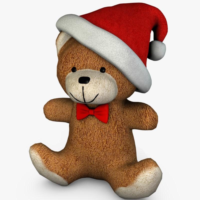cute christmas bear 3d model
